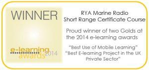 Gold award for the RYA e-learning VHF marine radio course.